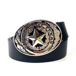 Image 2 - Cinturón de moda para hombre, cinturón estilo vaquero del oeste con logo de la bandera del estado de Texas, hebilla grande de metal negro, cinturones de cuero Pu para jeans