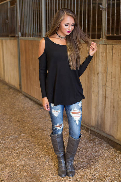 a8a2d0ffd64239 placeholder Women Blouse Shirt Off Shoulder Top Sexy Blusas Black Cold  Shoulder Blouse Long Sleeve Ladies Tops