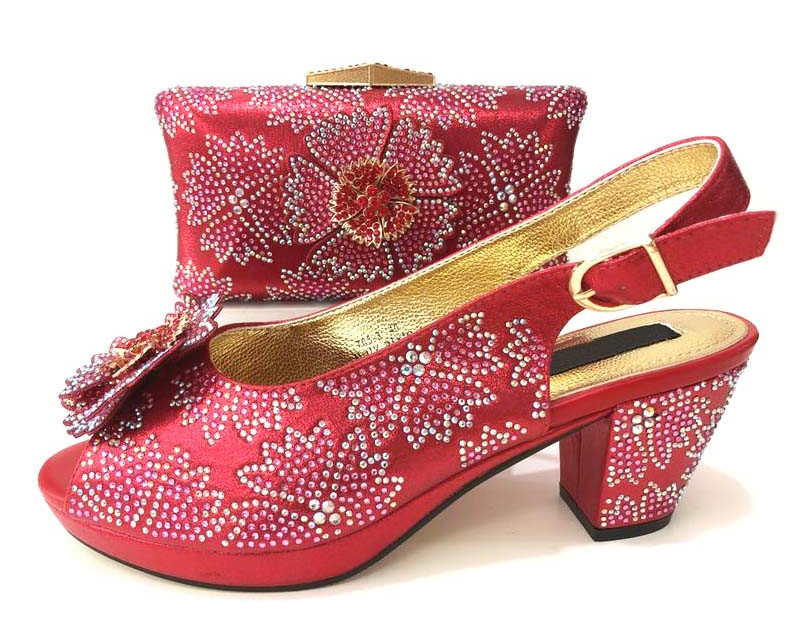 2018 Women shoe and bag matching set italian shoes and bag low heel with size 37-43 hand made design red shoes and bag SB8244-5 cd158 1 free shipping hot sale fashion design shoes and matching bag with glitter item in black