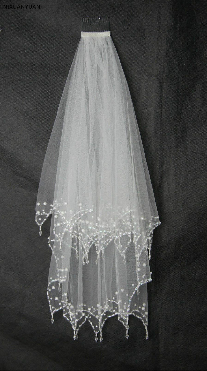 Clear Drop Beaded Cheap Bridal Wedding Veil In Stock 2T Hand Sew Crystal Edge With Comb