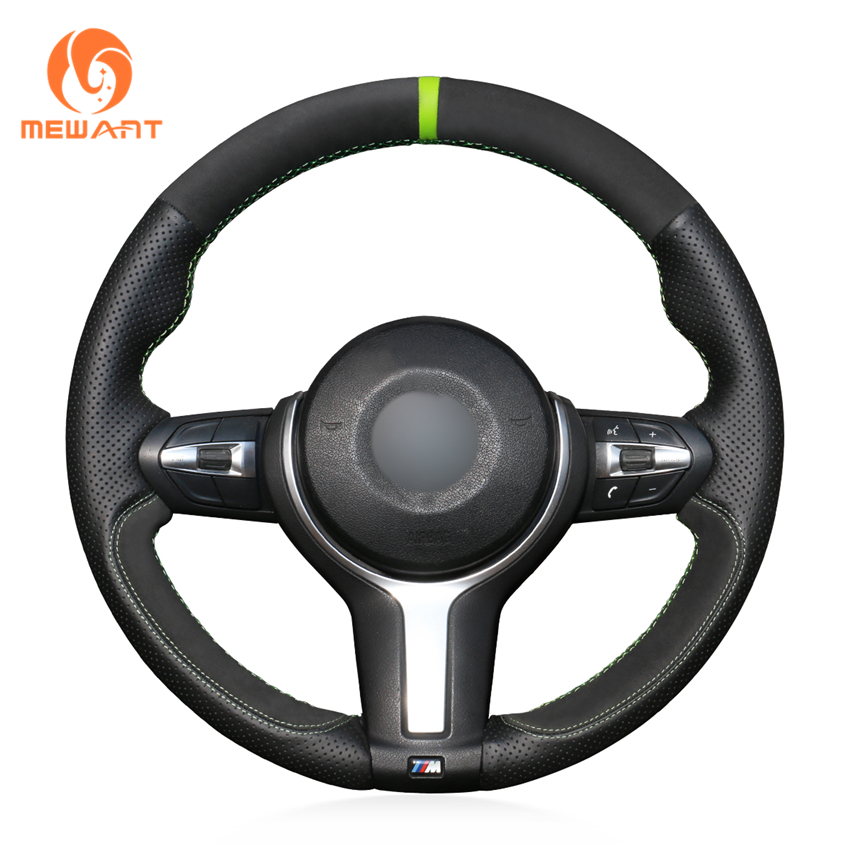Black Genuine Leather Black Suede Steering Wheel Cover for BMW F87 M2 F80 M3 F82 M4