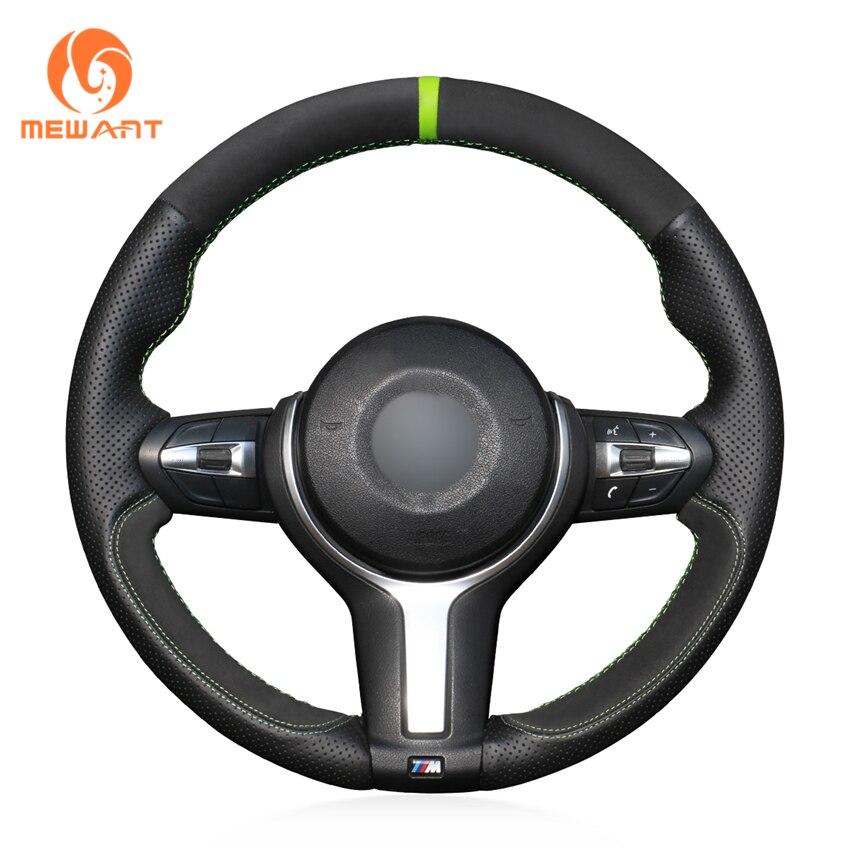 Black Genuine Leather Black Suede Steering Wheel Cover for BMW M Sport F30 F31 F34 F10 F11 F07 X3 F25 F32 F33 F36 X1 F48 X2 F39 Steering Covers     - title=