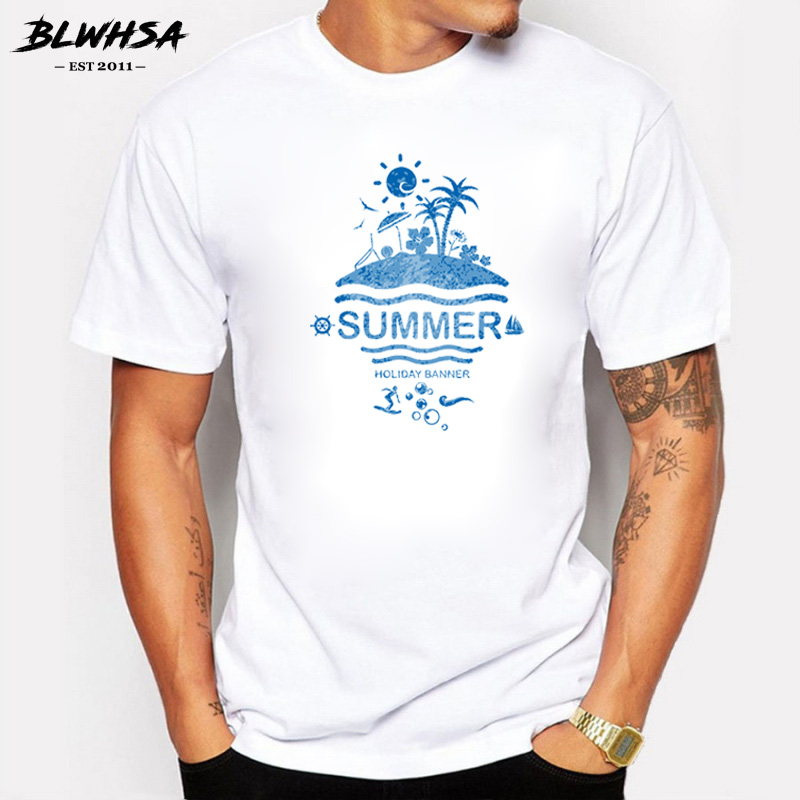 Blwhsa New Arrivals Summer Holiday Banner Design T Shirt Summer Men/boy Custom T-shirt High Quality Male Fitness Tee Tops