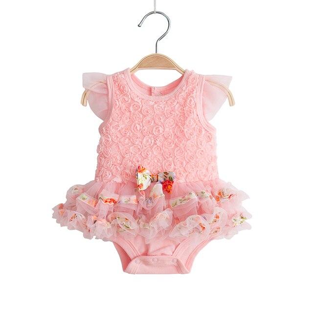d92d520a8c Cute Baby Girl Ubrania Letnie Koronki Kwiaty Sukienki Chrzest Chrzciny  Suknia Sukienka Puszyste Niemowlę Newborn Zdjęcie