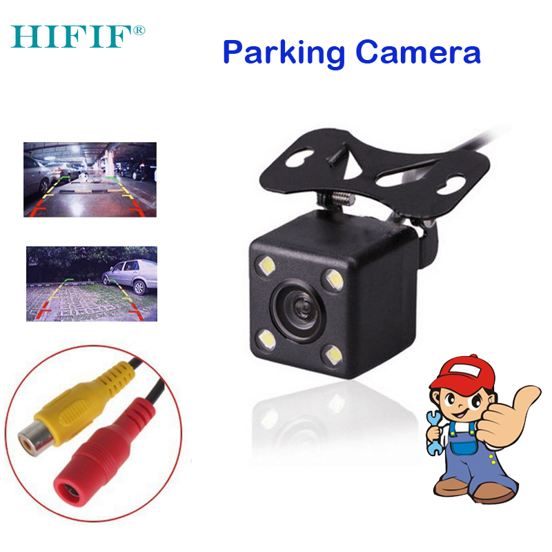 HIFIF Waterproof 5V-12V Car Rear View Camera Low Temperature HD CCD 4 LED Night Vision Universal Parking Assistance