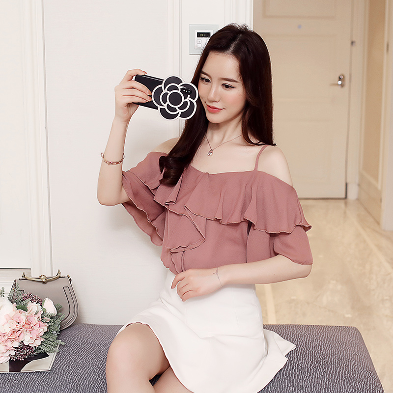 2018 New Summer Cute Women Shirts Chiffon A Word Shoulder Clothes Fairy Blouse Shirt 8194