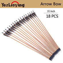 18PCS Crossbow Hunting 31-Inch Pine Arrow with 5 Inch Turkish Real Feather For Compound Bow Outdoor Hunting Archery