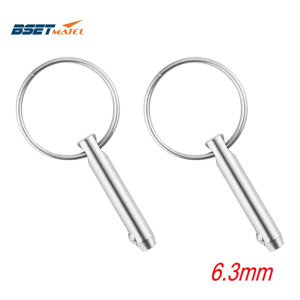 2PCS 6.3mm Marine Grade 1/4 Inch Quick Release Ball Pin For Boat Bimini Top Deck Hinge Marine Stainless Steel 316 Boat(China)