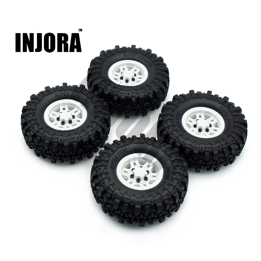 INJORA 1:10 RC Crawler 1.9 Inch Rubber Tires & Plastic Beadlock Wheel Rim for Axial SCX10 Tamiya CC01 RC4WD  D90 D110 TF2 4pcs rc crawler truck 1 9 inch rubber tires