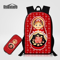 2 PCS 16 Inch Backpack Pencil Case For Children Russian Matryona Matryoshka Doll Printing School Bag For Girls Oxford Sac A Dos
