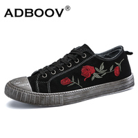 ADBOOV Mens Sewn Flowers Canvas Shoes Retro Style Antique Finishing Fashion Floral Fabric Flats Casual Skate