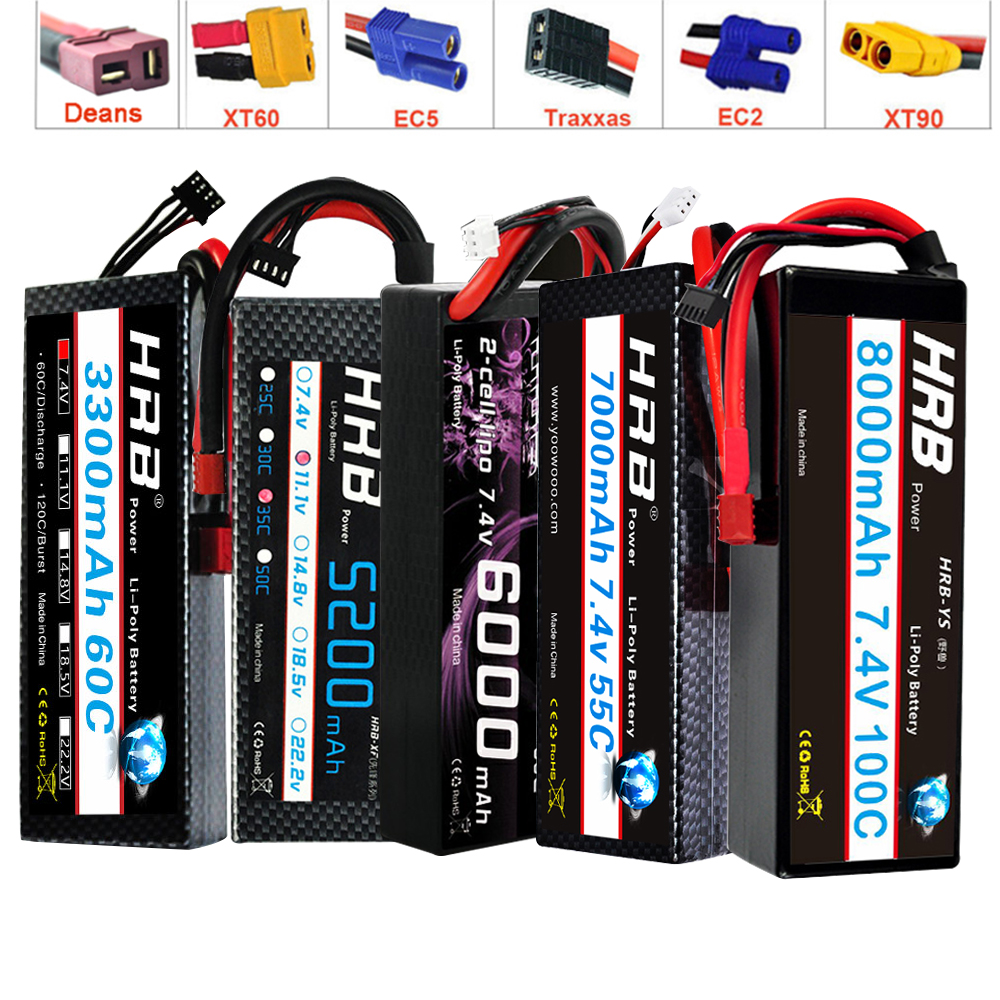 HRB <font><b>2S</b></font> 7.4V RC <font><b>Lipo</b></font> Battery <font><b>3000mah</b></font> 3300mah 4200mah 6000mAh 7000mah 8000mah 100C Hard Case For 1/10 Scx10 Cars Boat image