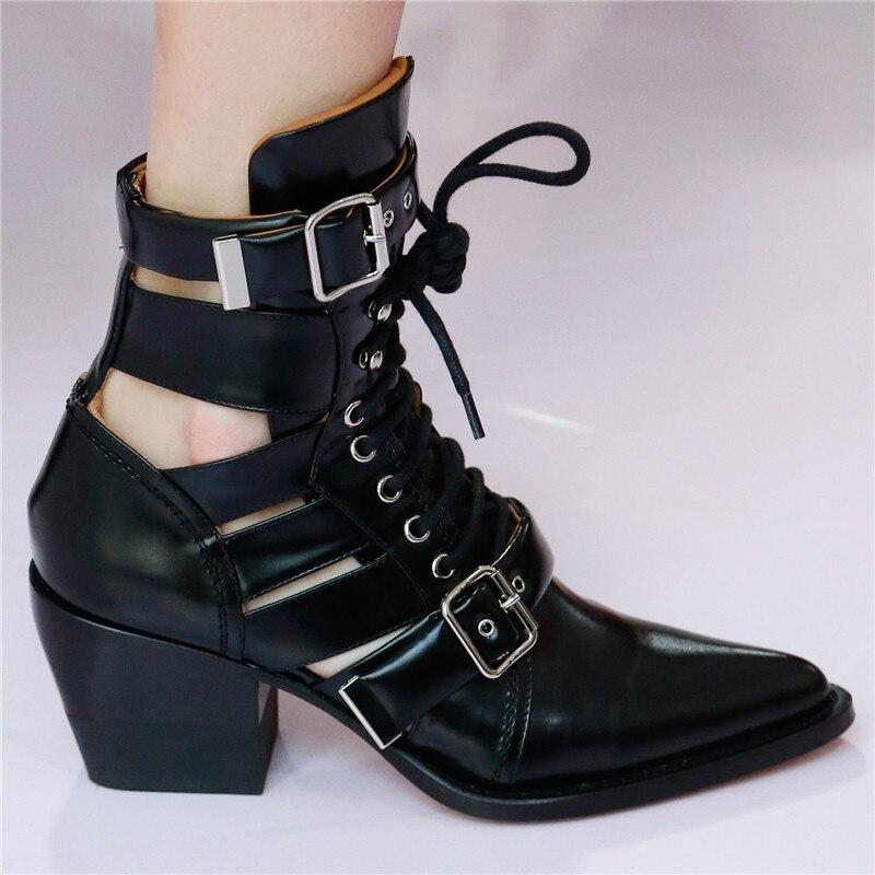 Ayakk.'ten Ayak Bileği Çizmeler'de Prova Perfetto Marka Tasarım Yılan Derisi Hakiki Deri Çizme Kadın Sivri Burun Yüksek Topuk yarım çizmeler Toka Lace Up Botas Feminina'da  Grup 3