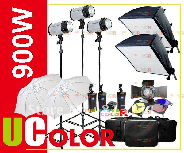 900W STROBE STUDIO FLASH font b LIGHT b font KIT LIGHTING PHOTOGRAPH 3 X 300W