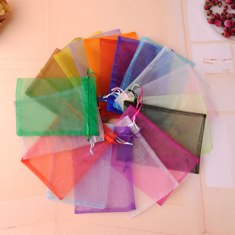 11x16cm 50pcs/lot Wholesale Mix Colors Organza Gift Bags Pouches Wedding/Christmas Favor For Jewelry Packaging