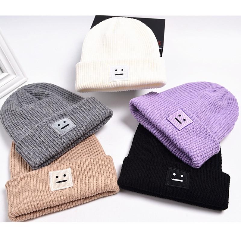 Fashion Women Hats Square Face Winter Warm Cap Lovers Cute Wool Hat for Men Women Knitting Caps Casual Skullies Beanies Gorras