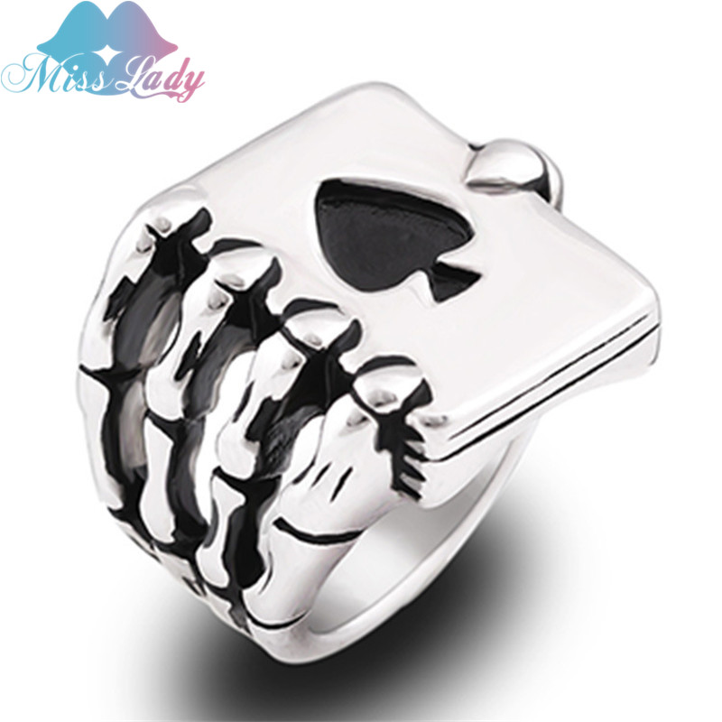 Miss Lady Vintage Stainless Steel Men Rings Gothic Punk Skull Hand Claw Poker Playing Card Design Men Jewelry MLZZCA2307