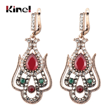 Kinel Vintage Turkish Red Resin Flower Women Earring Antique Gold Hollow Arabesque Ethnic Long Hook Drop Indian Jewelry