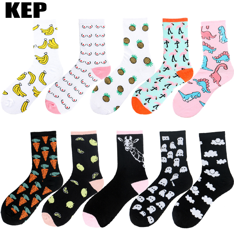 KEP Brand Korean Harajuku Novelty Flamingo Pineapple Dinosaur Fruit Animals Cotton Women   Socks   Funny Happy   Socks   Christmas Gift