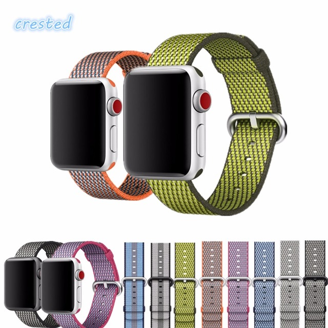 CRESTED Woven Nylon strap band for apple watch serise 3 2 1 iwatch band 42mm 38mm nylon wrist band bracelet & fabric watch band