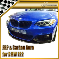 Car Accessories For BMW 2014 On F22 Carbon Fiber M Tech Style Front Lip Glossy Fibre Racing Bumper Splitter Body Kit Trim