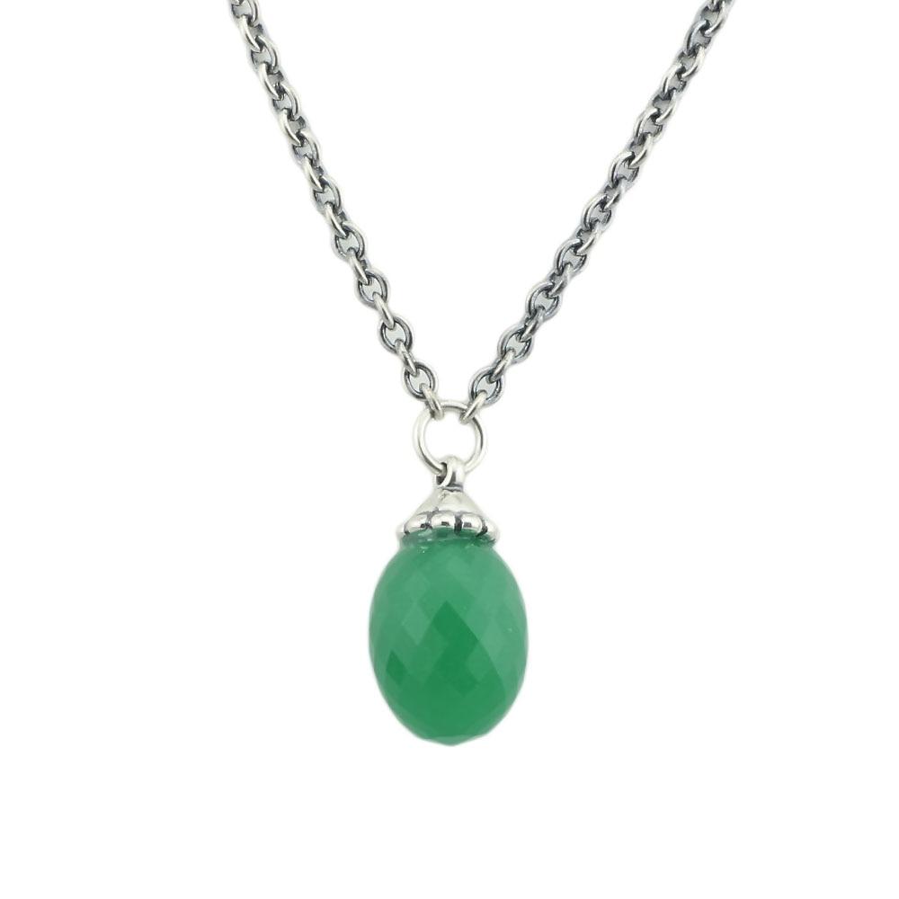 Collier fantaisie authentique en argent Sterling 925 avec perles de cristal vert pour femmes et hommes