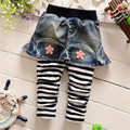 Fast Shipping High Quality Children Culottes 2016Korean Lovely Princess Cotton Jeans Baby Girls Clothing Kid Cloth Autumn&spring