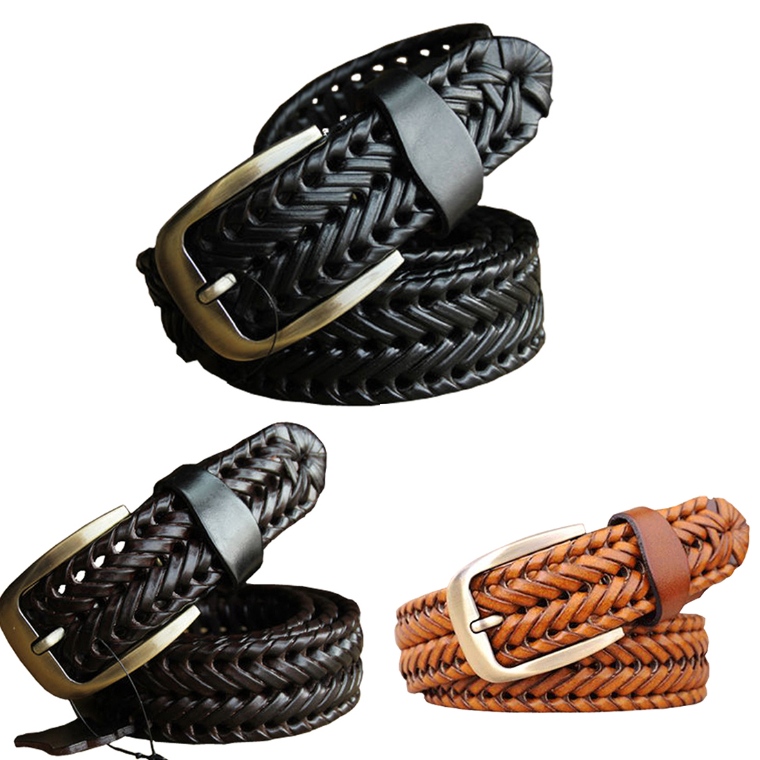 f44f2ec01d HOT SALE New Belt Man Fashion Mens Belts Luxury Genuine Leather Braided Cow  Skin Straps Men Jeans Belt