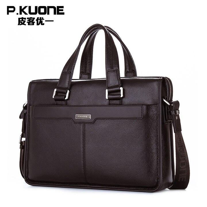 2014 New Men's Handbag Genuine Leather Luxury Brand Men Business Briefcase Handbags Messenger Bags 14''/15.6'' Laptop Bag