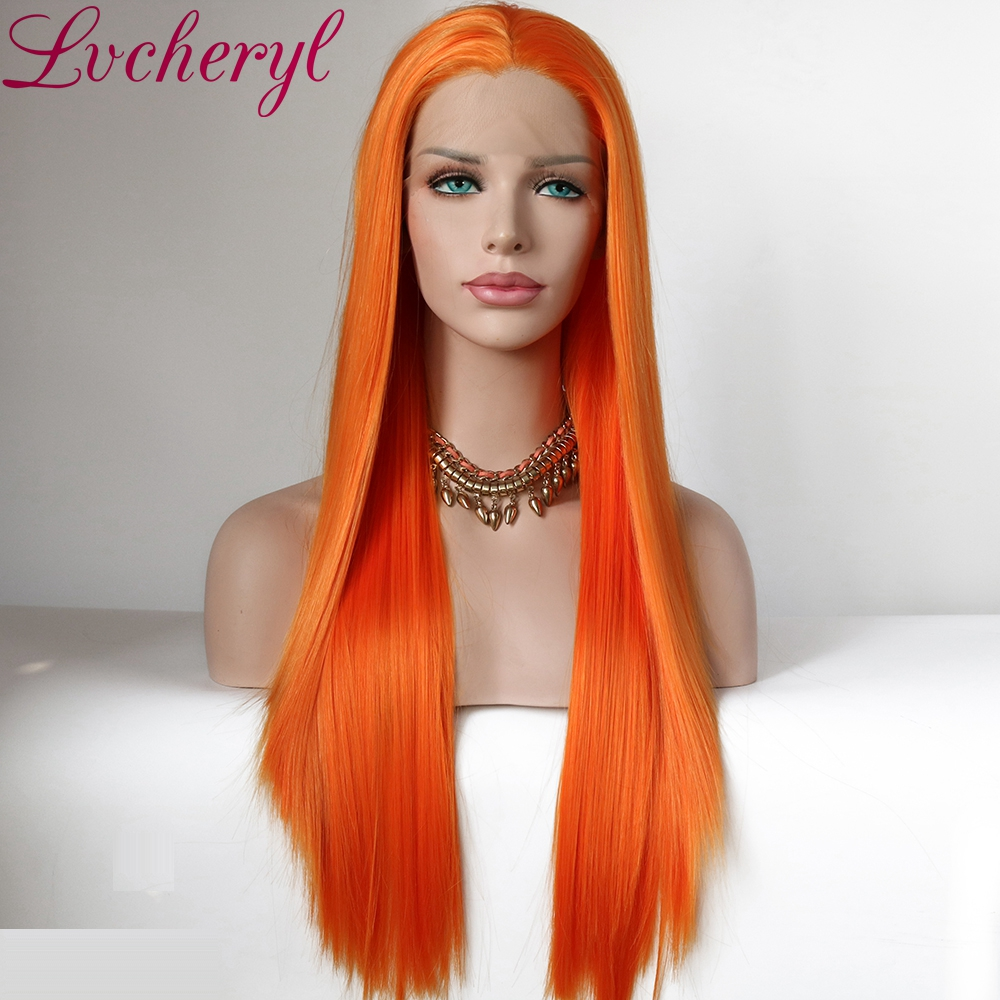 Lvcheryl Orange Synthetic Lace Front Wigs Realistic Looking Long Silky Straight Half Hand Tied Heat Resistant