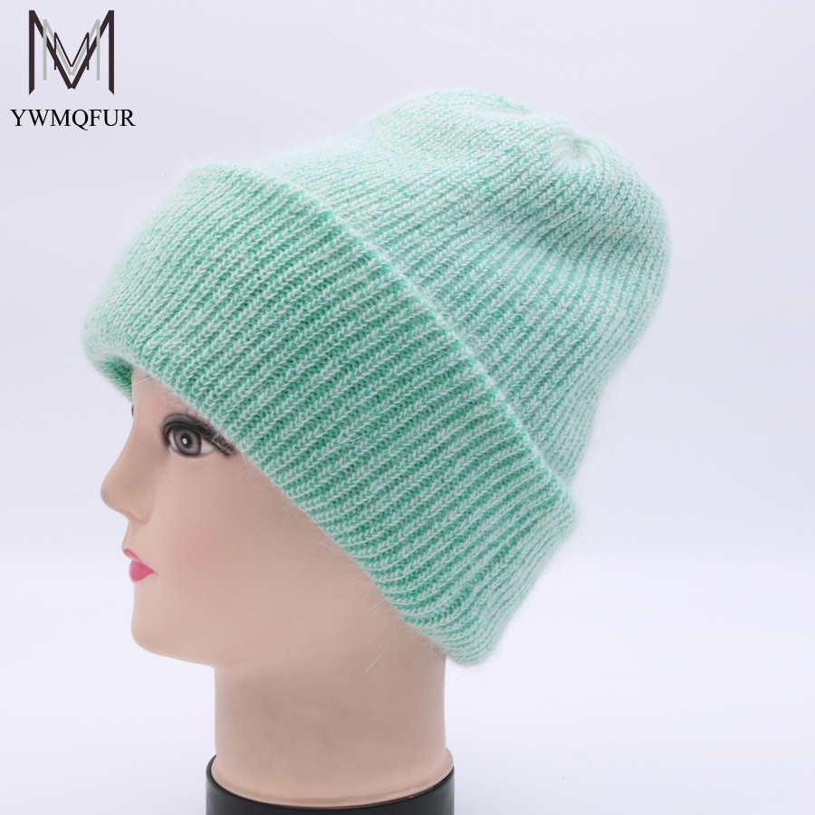 YWMQFUR Hot 2017 Winter Skullies Wool  Knitted Hat Beanies Cap Casual Solid Color Sets Headgear Thicker Warm Hats For Women H95 skullies hot sale female tide leather braids knitted cap autumn and winter women s curling ear warmers headgear 1866784