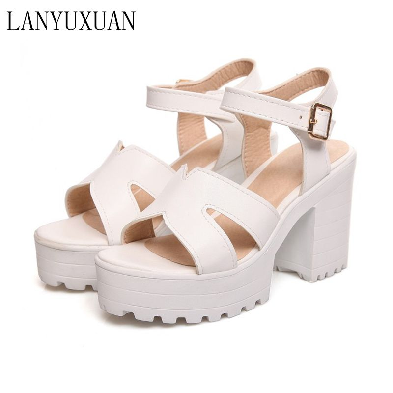 Big Size Summer Sandals Women 2017 Platform Female Thick Heel High Heels Peep Toe Sandals Shoes Women Sandalias Plataforma 9950 women shoes summer women sandals 2017 peep toe gold silver roman sandals shoes platform brand creepers woman sandalias size 43