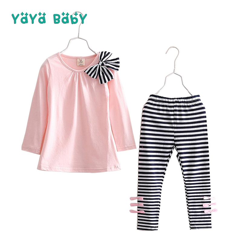2 3 4 5 6 7 8 Year Girls Clothes Long Sleeve Children Clothing Set Bow Shirts Striped Leggings Kids New Year Suits for Girl 2018 new long sleeve bow little girls clothing sets 4 5 6 8 10 years skirt pants hoodies 2 pieces kids suits autumn girls outfit