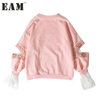 EAM 2017 New Autumn Round Neck Long Sleeve Nailed Pearl Hollow Out Embroidery Lace White