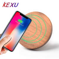 KEXU 10W 7.5W Qi Wireless Charger Wood fast Wireless Charger mini Charging Pad for iPhone X 8 for Samsung Galaxy Note8 S8 S7Edge