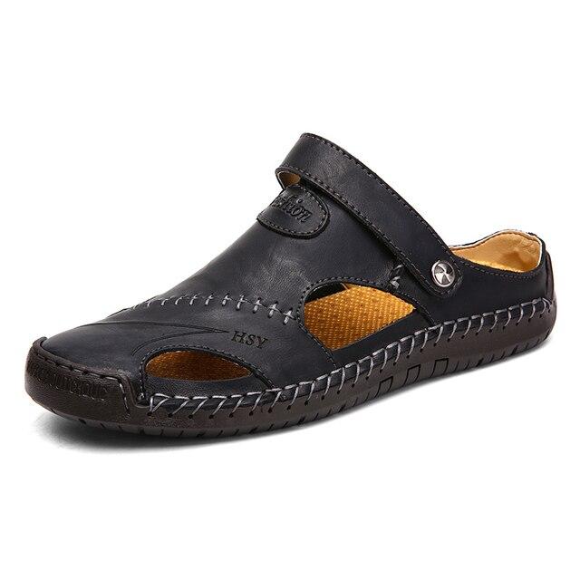 Мужские кожаные сандалии в классическом стиле, красно-коричневые сандалии с резиновой подошвой, для улицы и пляжа, обувь для походов, обувь ... 2