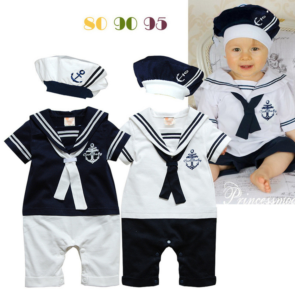 Baby boys girls short sleeve cotton rompers summer fashion kids jumpers navy style cute infant overalls newborns clothes 17J701