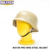 MILITECH Tan WW2 Duitse M35 Staal Helm WW II M35 Duitse helm Motor Fiets Veiligheid Helm Tan Wereldoorlog 2 repro Helme-in Veiligheidshelm van Veiligheid en bescherming op