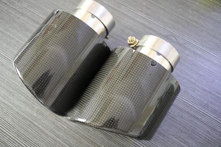 Universal 114mm tamanho modificação do carro de fibra de carbono tubo de escape muffle para benz bmw audi porsche cadillac honda - 3