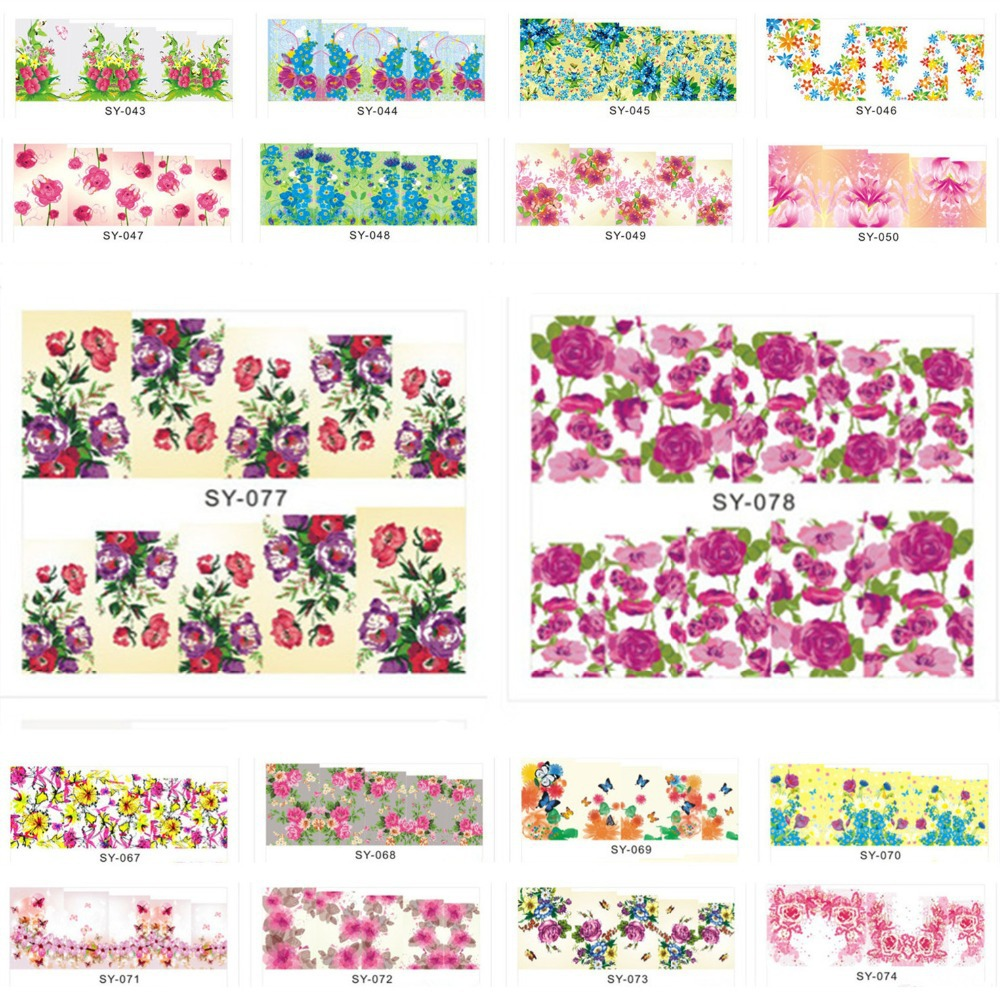 Stickers decals nail stickers nail art decals fashion -  Sy001 Sy084 Water Transfer Nail Sticker Fashion Nail Art Sticker Decal