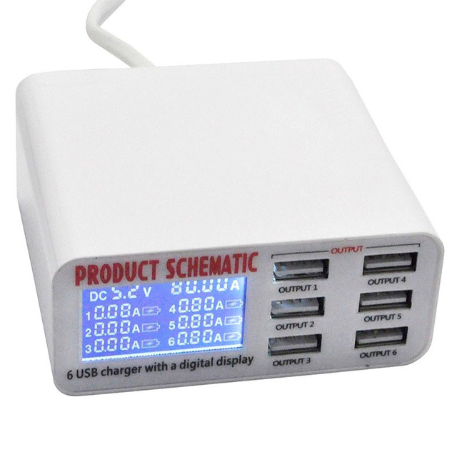 USB מטען נייד רב USB יציאת מהיר מטען 6 יציאת USB שקע מהיר מטען עם LCD תצוגה עבור חכם נייד טלפון