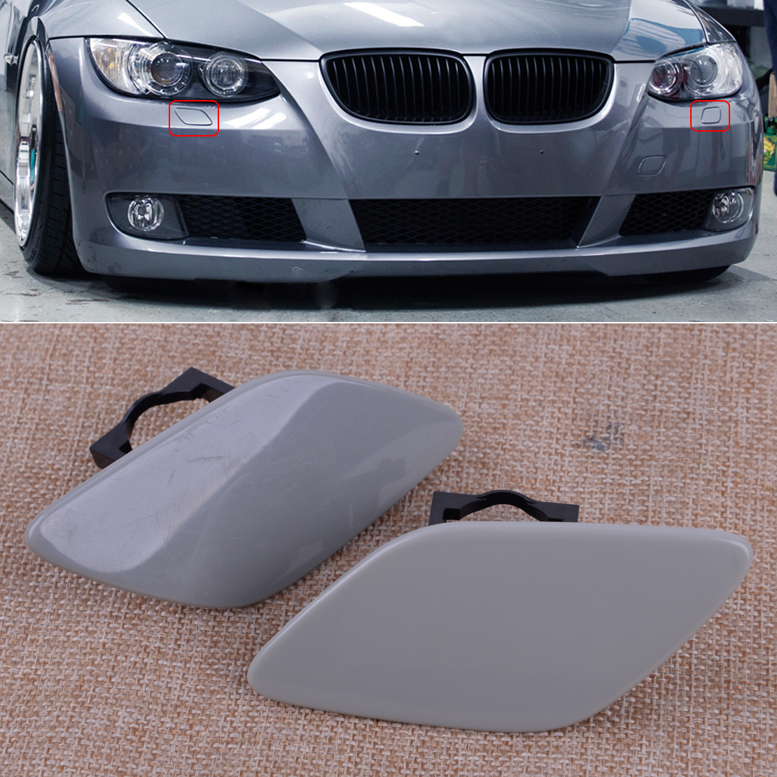 CITALL  1 Pair Headlight Washer Cover Cap Lamp Flap Bumper Trim Fit For BMW 3-Series E92 Coupe E93 Convertible 328i 335i