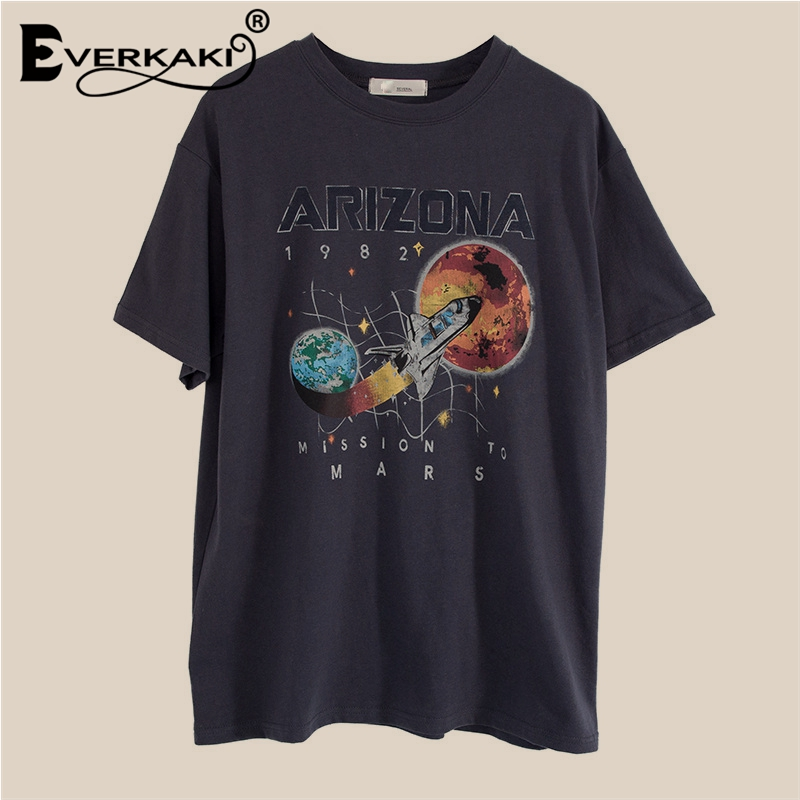 Everkaki T Shirt Women Boho Print Streetwear Short Sleeve O-neck Grey Casual Tops Bohemian Tee Shirts Female 2020 Summer New