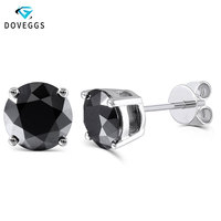 DovEggs Platinum Plated Silver 2ctw 6.5mm Black Round Moissanite Diamond Stud Earrings For Women Push Back Earring Fine Jewelry