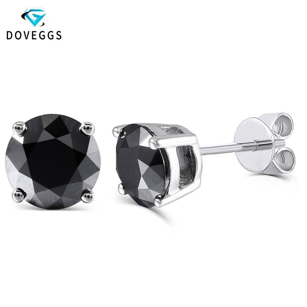 DovEggs platine plaqué argent 2ctw 6.5mm noir rond Moissanite diamant boucles d'oreilles pour les femmes repousser boucle d'oreille bijoux fins