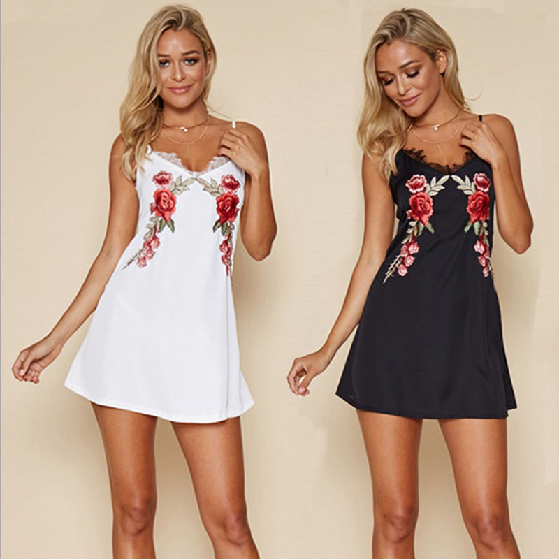 Sexy Club Modal Dresses Floral Bodycon Dress V Neck Black Embroidered Rose Backless Spaghetti font b