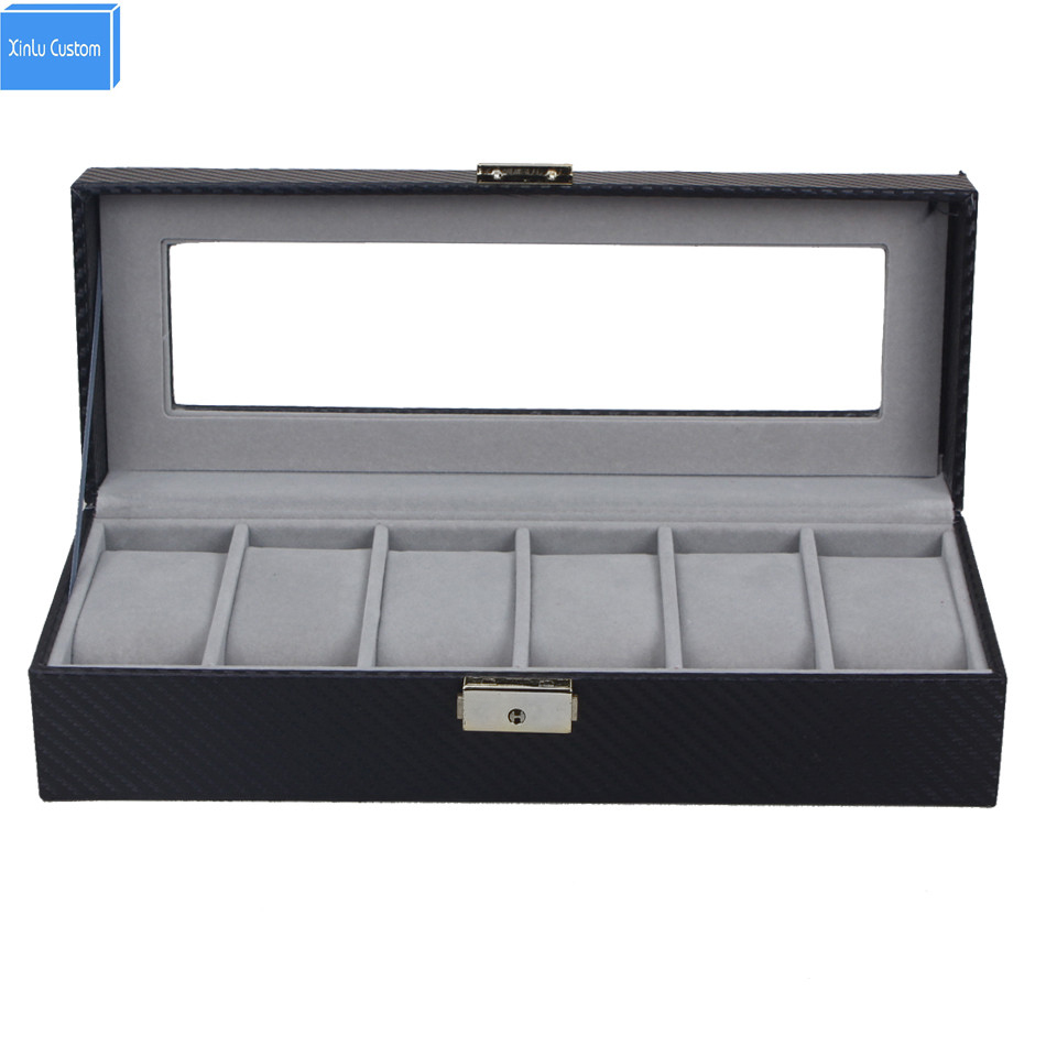 Elegante Kohlefaser 6 Gitter Display Geschenk Uhr Wickelbox Herren & Damen Schmuck Uhren Aufbewahrungsbox Organizer Coffret Montre