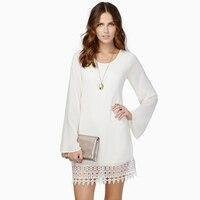 2017 Women Europe United States Patchwork Lace Chiffon Flare Sleeve Long Sleeve Loose Mini Dress Large