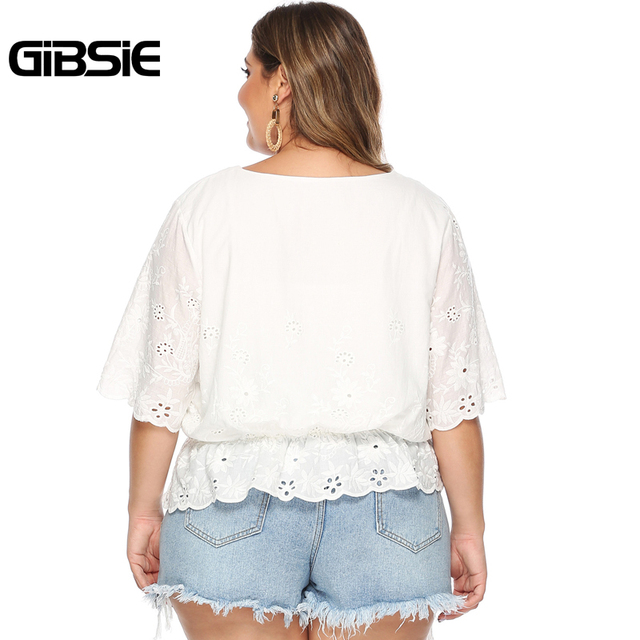 GIBSIE Plus Size Hollow Out Embroidery White Blouse Women's Summer Cotton Peplum Tops V-Neck Half Sleeve Casual Ladies Shirts 2