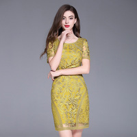 Europe and the United States in the summer of the new big yards dress pure color gauze heavy embroidery package buttocks dress